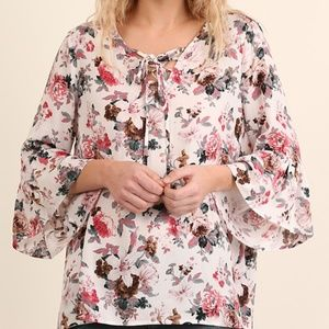 NWT Floral Angel-Sleeve Top with Neck Tie